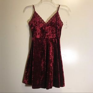 crushed velvet lace trim maroon skater dress